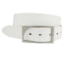 Canterbury Golf Women's Cut-to-Fit White Leather & Rhinestone Buckle Belt