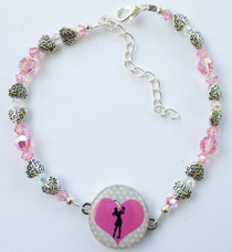 One Putt Designs - LOVE Pink with Light Rose Swarovski Crystals & Textured Pewter Hearts #4SWRH