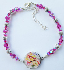 One Putt Designs - Fuchsia Folly Swarovski Crystals & Pewter Golf Ball Marker Ankle Bracelet #4SWFG