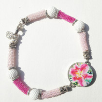 One Putt Designs - Hand Bead Pink Delica Peyote Tubes with White Golf Balls Ball Marker Ankle Bracelet