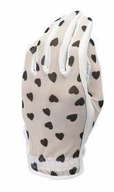 Evertan Women's Tan Through Golf Glove: Black Hearts