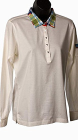 San Soleil: Ladies UPF 50 Egyptian Cotton Madras White 900304 - Size L - SALE