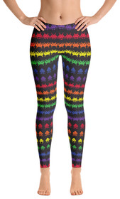 ReadyGOLF Womens All-Over Leggings - Invaders from Space