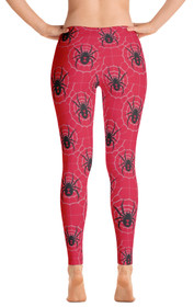 ReadyGOLF Womens All-Over Leggings - Black Widow Red