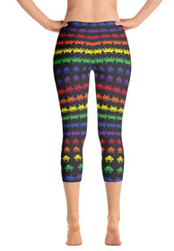ReadyGOLF Womens Capri Leggings - Invaders from Space