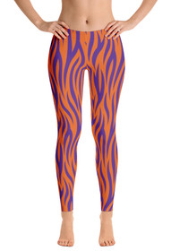 ReadyGOLF Womens All-Over Leggings - Orange & Purple Tiger Stripes