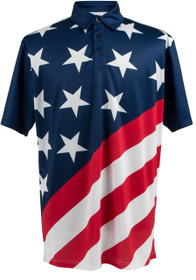 ReadyGOLF Mens Golf Polo Shirt - USA Flag Stars & Stripes
