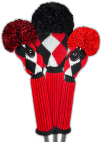Just 4 Golf - Diamond Headcover Set - Red, Black & White