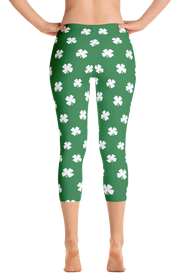 ReadyGOLF Womens Capri Leggings - Four-Leaf Clover (White)