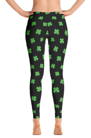 ReadyGOLF Womens All-Over Leggings - Four-Leaf Clover (Lime Green)