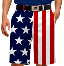 Loudmouth Golf Mens Shorts - Stars & Stripes StretchTech