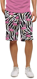 Loudmouth Golf Mens Shorts - Savage Flamingos StretchTech