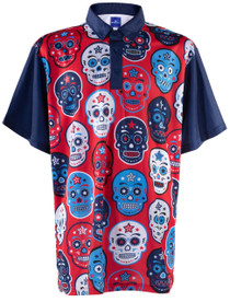 ReadyGOLF Mens Golf Polo Shirt - USA Sugar Skulls