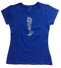 Titania - Rhinestone Women's T-shirt with Cowgirl Boot (Royal Blue) - SALE