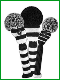 Just 4 Golf - Striped Headcover Set - Black and White