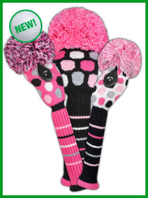 Just 4 Golf - Dot Headcover Set - Pink/Grey/White/Black