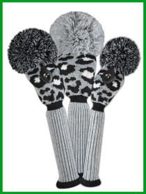 Just 4 Golf - Leopard Headcover Set - Gray, Black & White