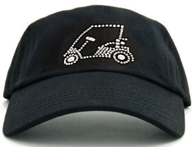 Golf Cart on Black Ladies Baseball Hat by Dolly Mama 8112ee23734