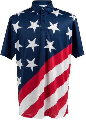 Usa Stars Amp Stripes Flag Mens Loud Golf Polo Shirt