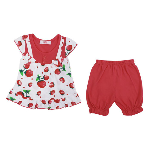 Baby Girls Dress Set Top and Shorts in Cerise, Mint, Baby Pink and Red