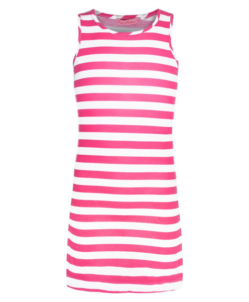 Girls Stripy Dress in Cerise