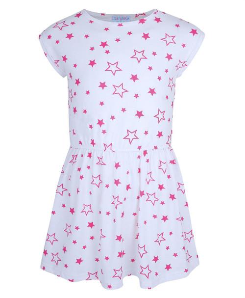 Girls Star Printed Dress in Cerise