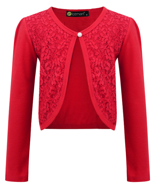 Girls Lace Front Bolero Shrug in Red