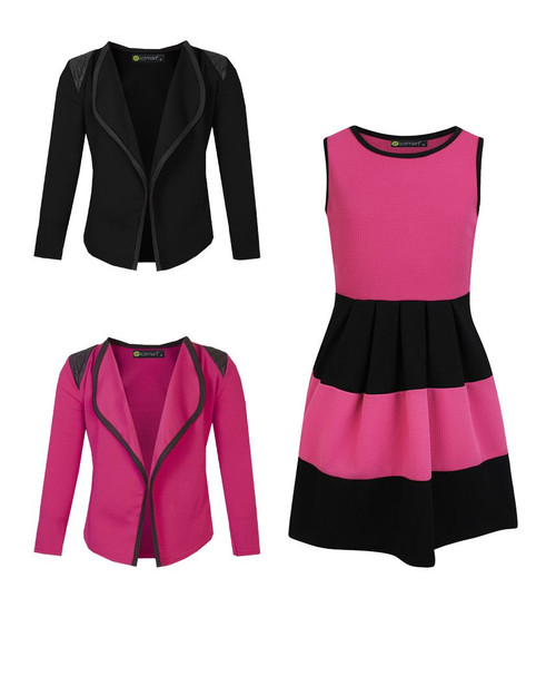 Girls Skater Dress and 2 Jackets Bundle in Cerise and Black