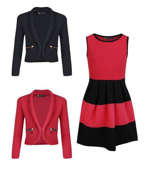 Girls Skater Dress Bundle with 2 Jackets in Red, Bright Red and Black