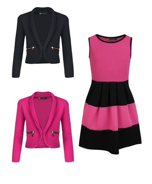 Girls Skater Dress Bundle with 2 Jackets in Cerise and Black