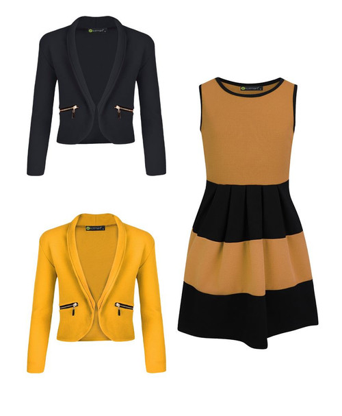 Girls Skater Dress Bundle with 2 Jackets in Mustard and Black