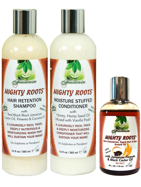 MIGHTY ROOTS Pimento JBCO 4oz with Shampoo and Conditioner 13oz Combo