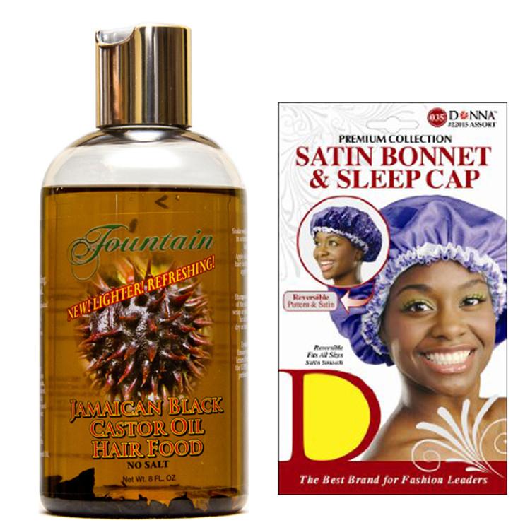 Fountain Jamaican Black Castor Oil Hair Food and Satin Cap Combo