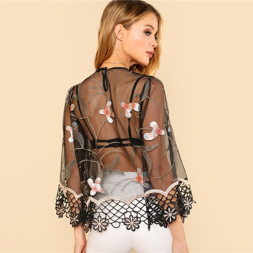 9d3ad96816a44c Floral Embroidered Lace Cut Out Sheer Top Women Round Neck Flare Sleeve  Blouse 2018 Spring ...