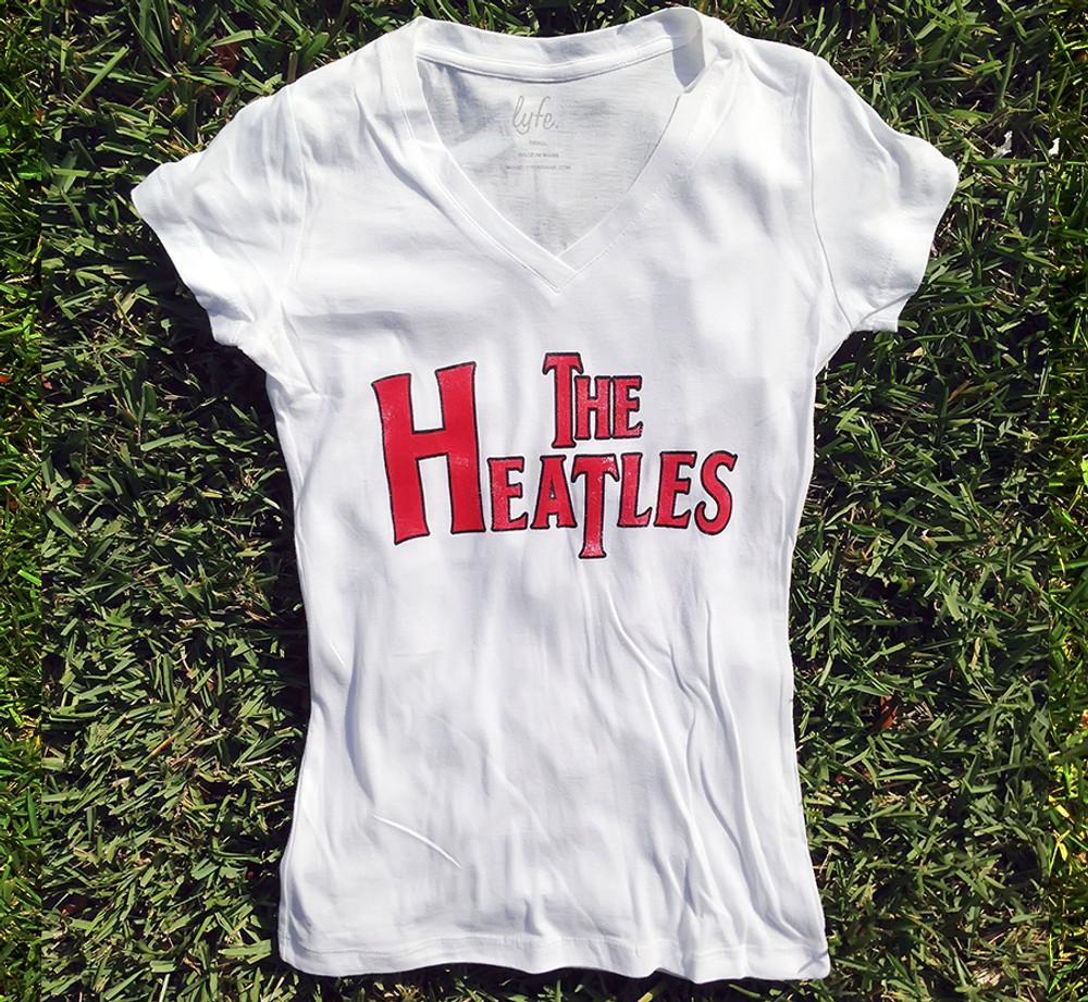 LYFE The Heatles Women's White Hot V-neck Vintage Shirt