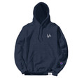 LYFE SCRIPT EMBROIDERED NAVY HEATHER HOODIE