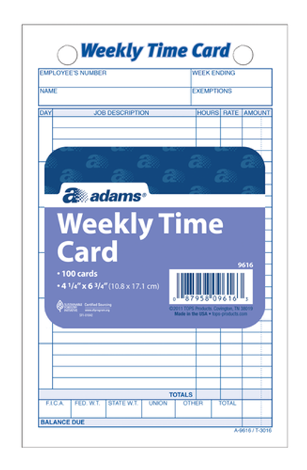abf9616abf time card weekly white index bristol 100 cdpk - Weekly Time Card