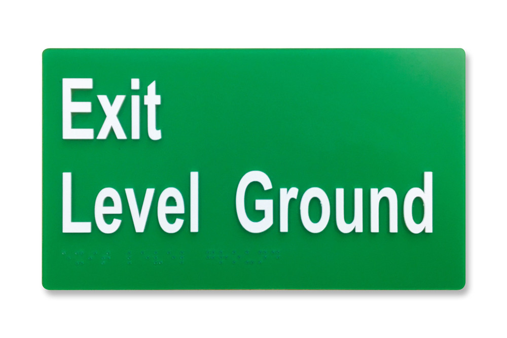EXIT LEVEL GROUND 210x120mm Braille sign White/Green