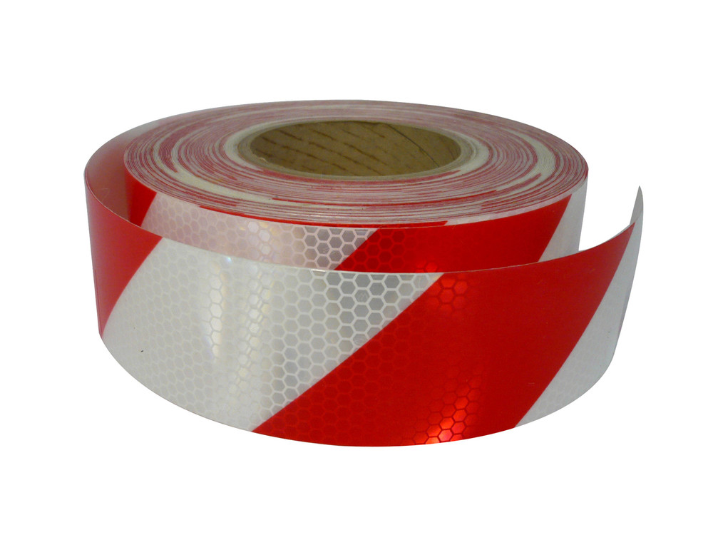 50mm Class 1 Reflective Tape RED/WHT STRIPED 45.7 m ROLL