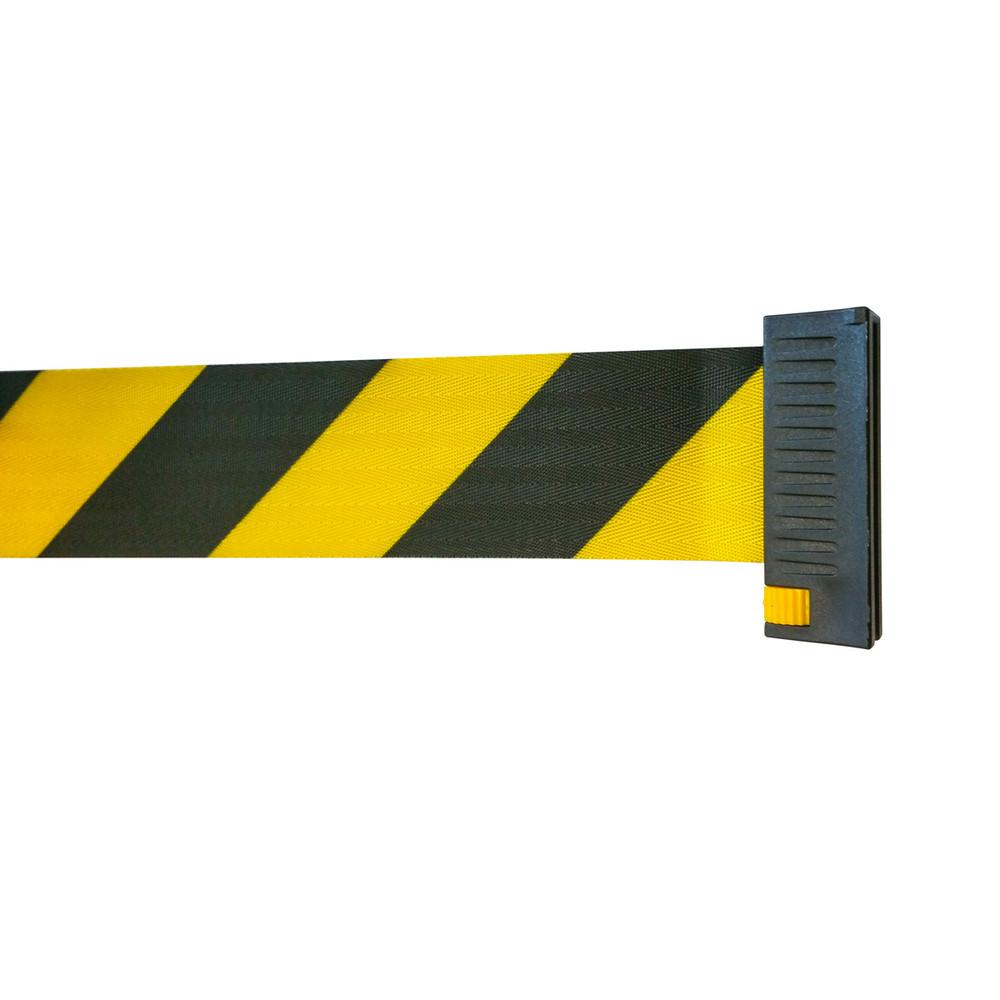 Neata Wall mount belt barrier PVC - BLK/YLW 5.0m