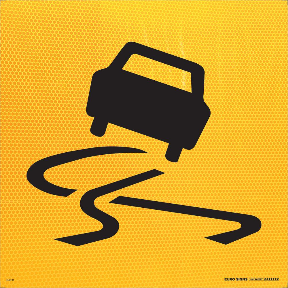 SYMBOLIC 'SLIPPERY' CAR 600x600 Corflute HI-INT BLK/YELLOW
