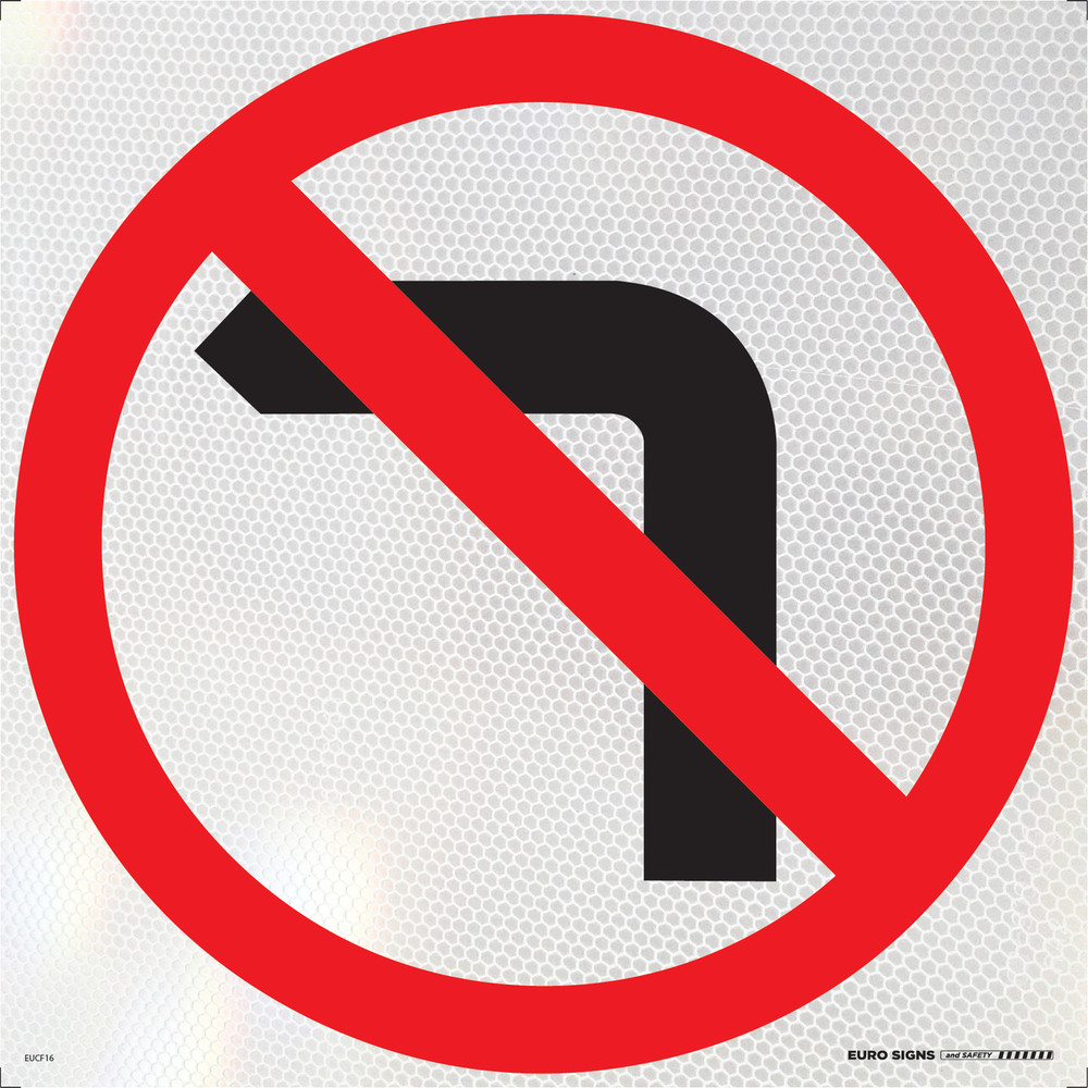 NO LEFT TURN 600x600 Corflute HI-INT BLK/RED/WHT