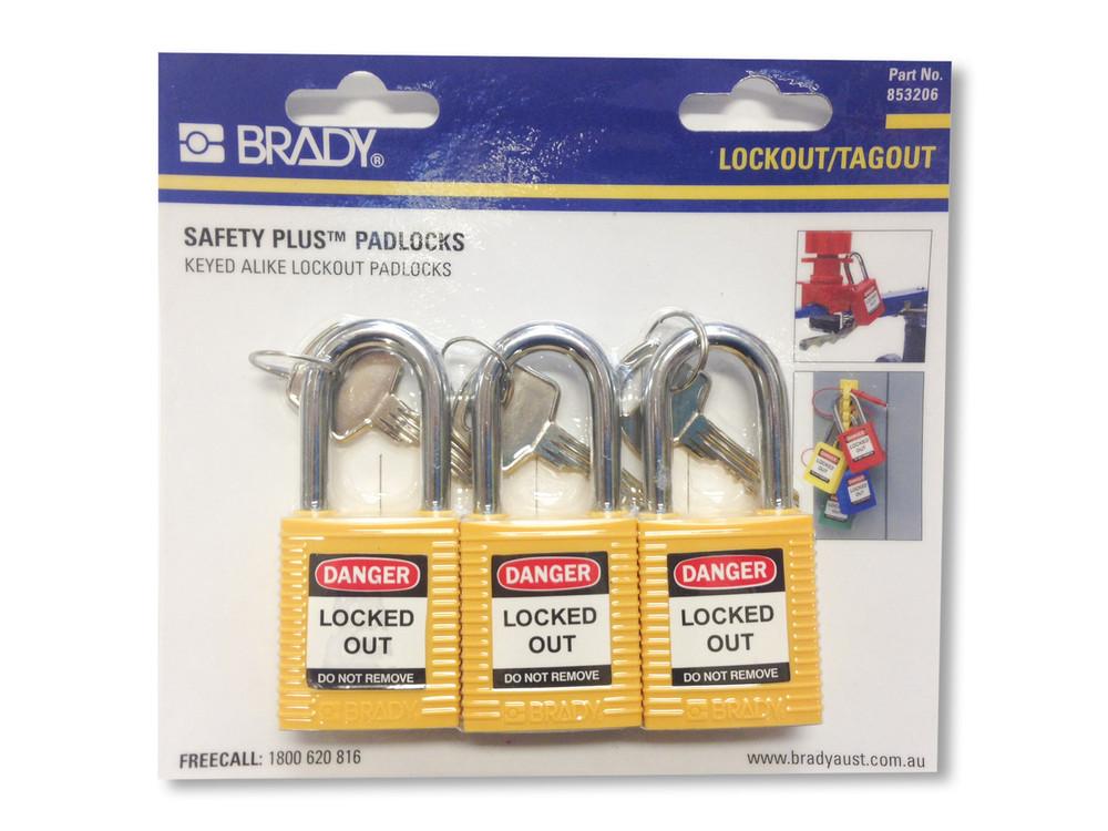 BRADY KEYED ALIKE SAFETY PADLOCKS - YLW PK3