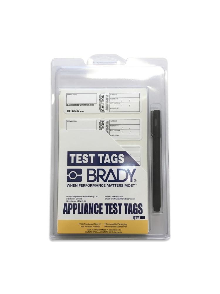APPLIANCE TEST TAG CAUTION WHITE 120x35 PK100