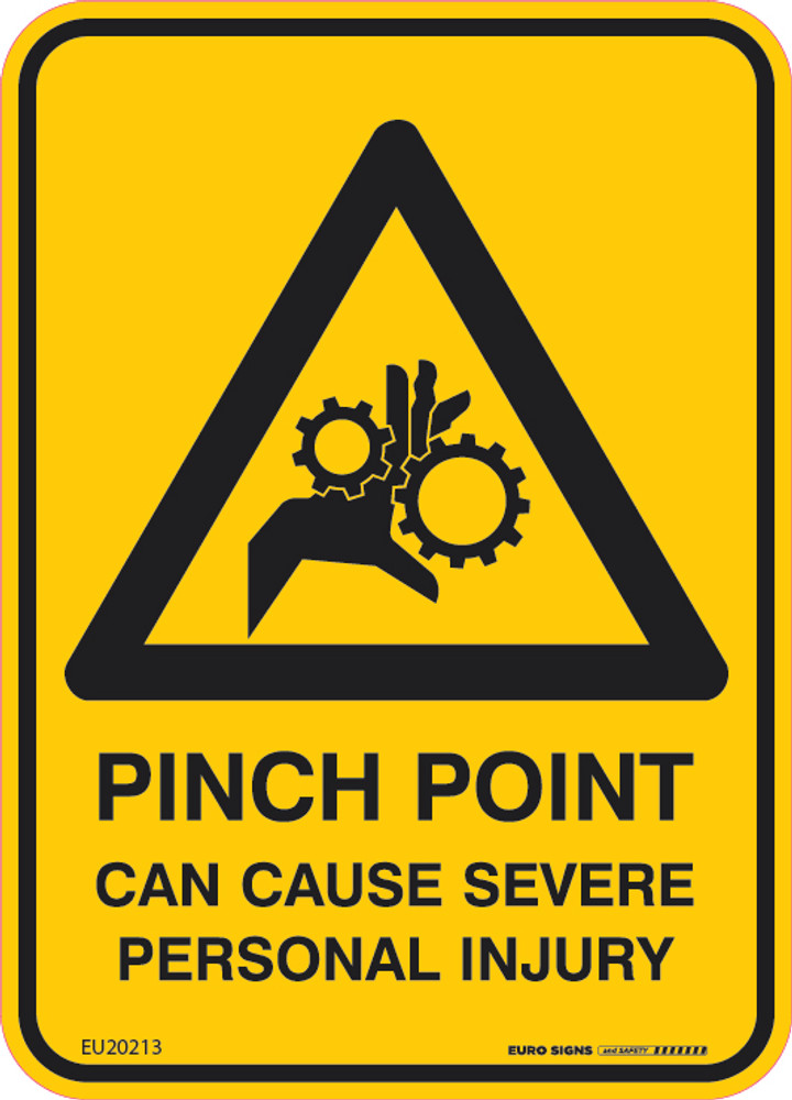 PINCH POINT CAN CAUSE SEVERE INJURY 90x125 DECAL