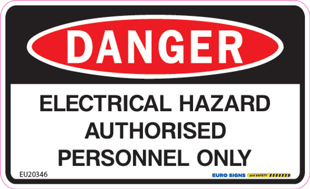 DANGER ELECTRICAL HAZARD AUTH PERSONNEL 90x55 DECAL