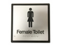 FEMALE TOILET 200x200 Braille Sign Silver/Black