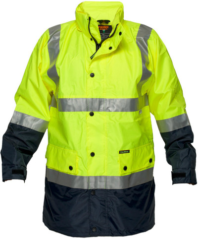 Long Wet Weather Jacket YLW/NVY 3M Reflective (Small)