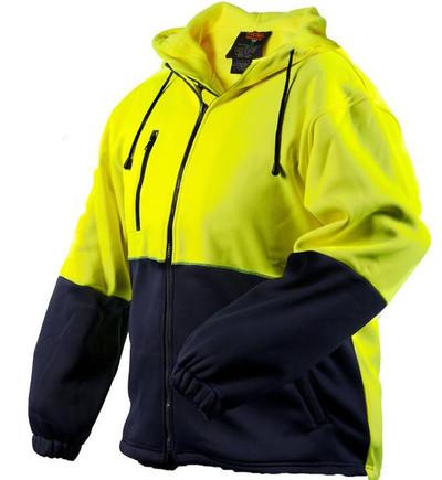 Full Zip D/Layer Water Repellent Fleece Hoodie YLW/NVY (XLarge)