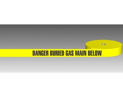 U/Ground Tape DANGER - BURIED GAS MAIN BELOW 100mmx250m - PLAIN
